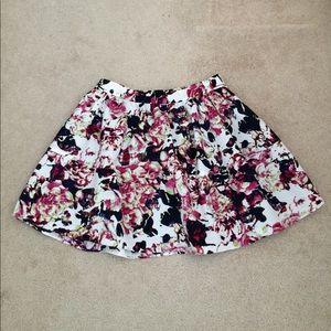 NWOT Express Pink/Black/White Floral Flare Skirt